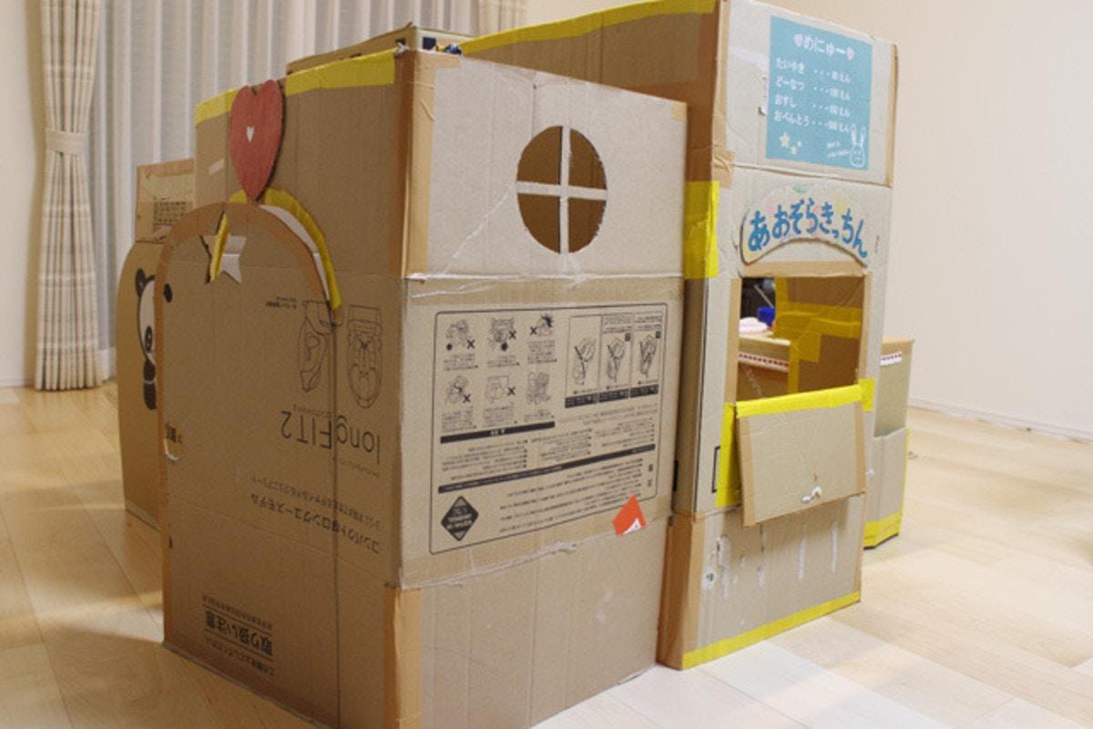 ダンボールハウスを子供と一緒に手作りしちゃおう 作り方をご紹介 ママリ