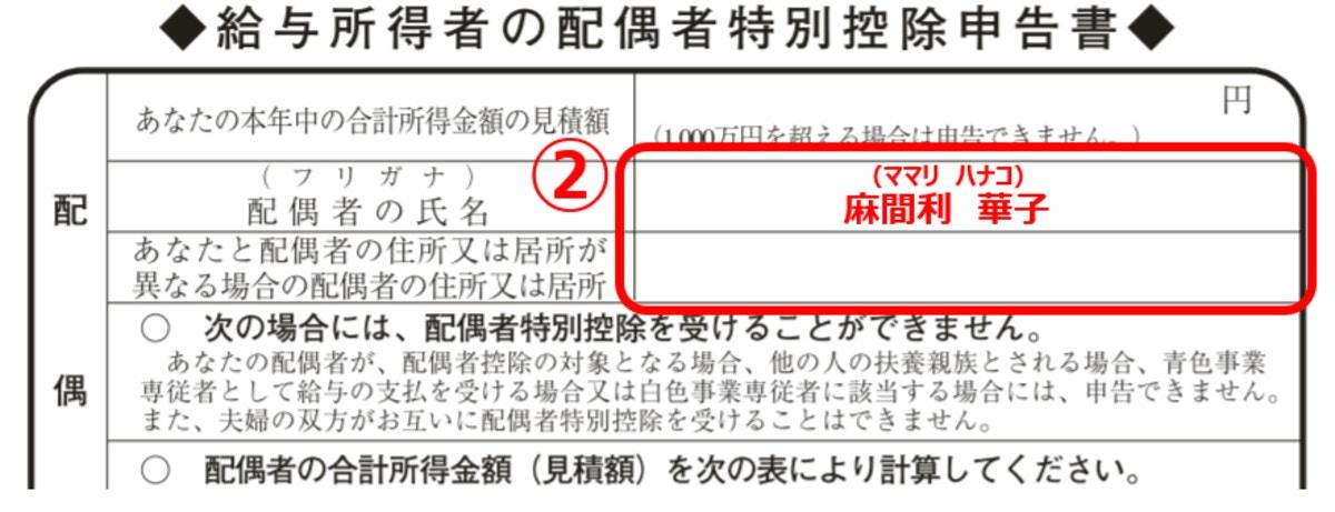 配偶者特別控除申告書の書き方2(編集部にて作成)
