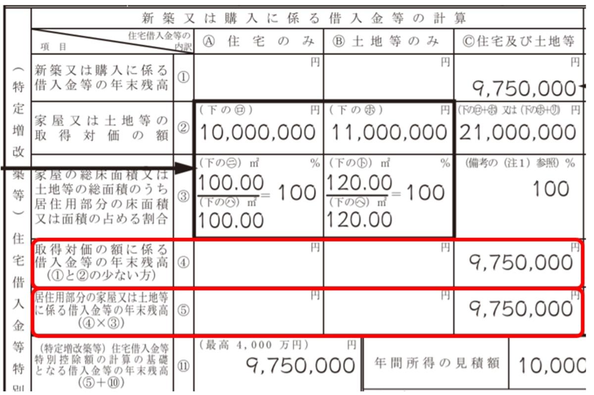 年末調整 住宅ローン控除の書き方4(編集部にて作成)