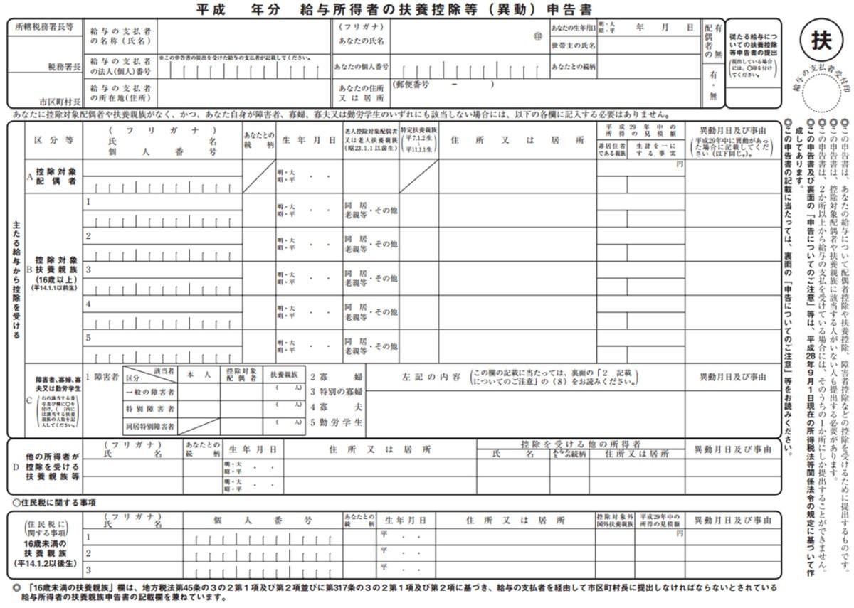 扶養控除申告書イメージ(国税庁HPより/編集部にて作成)