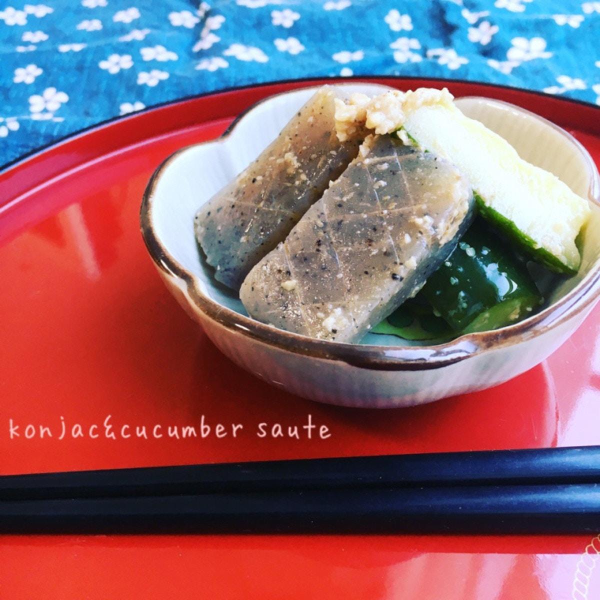 こんにゃくときゅうりの味噌マヨ炒め