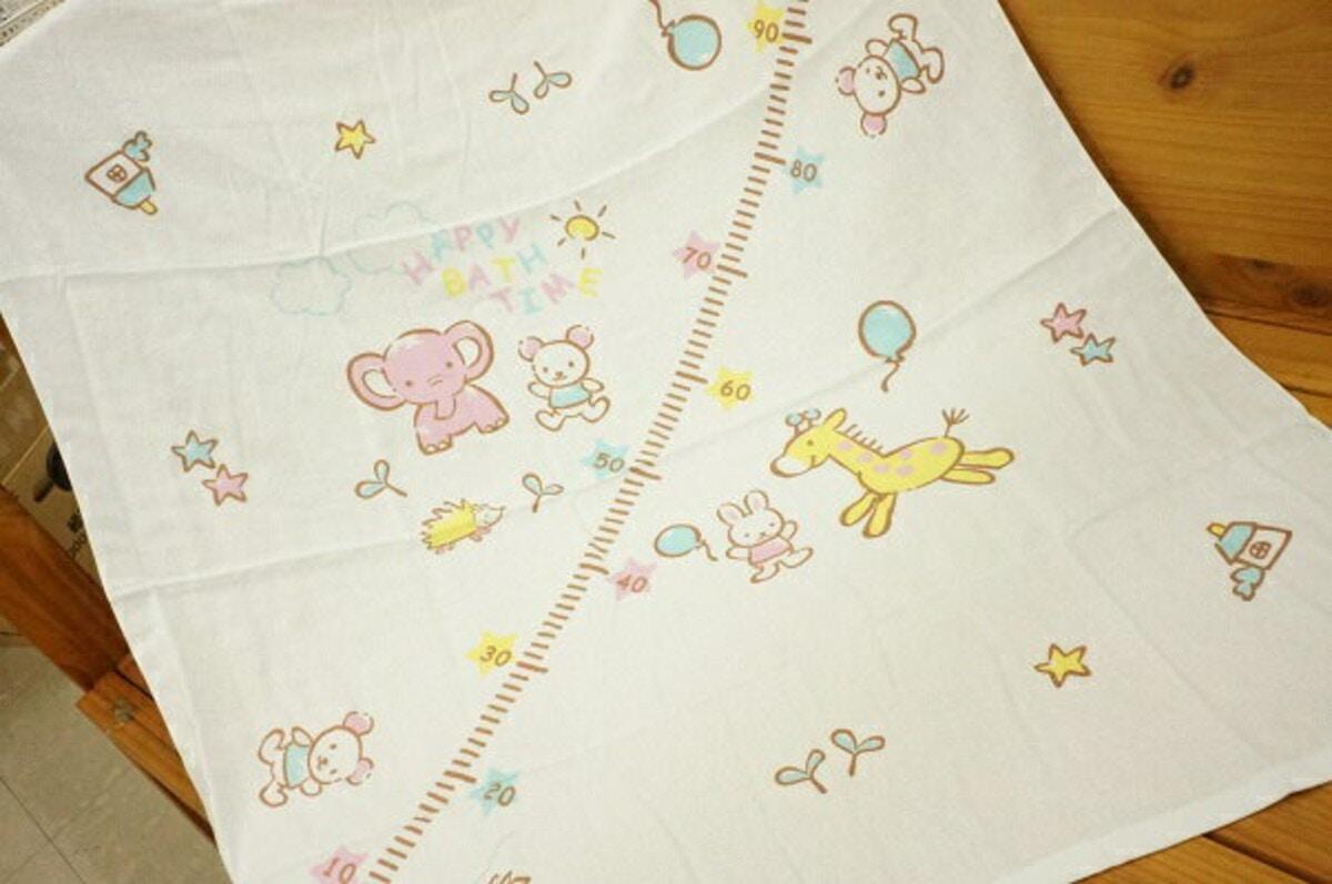 BABY STORYベビー用 身長計付き正方形湯上りタオル