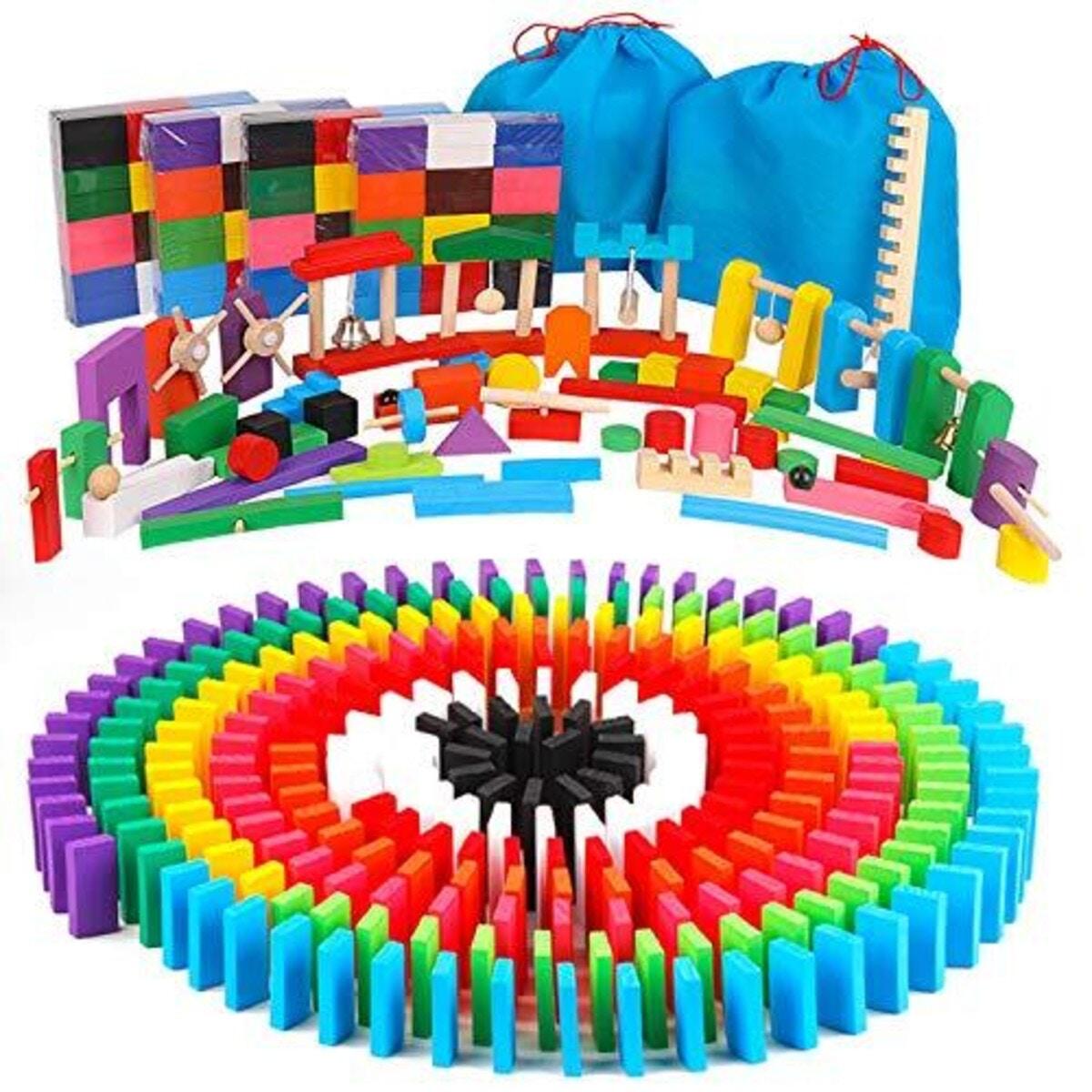 AISFA 積み木 ドミノ倒し 知育玩具480個 ギミック 仕掛け 43種セット