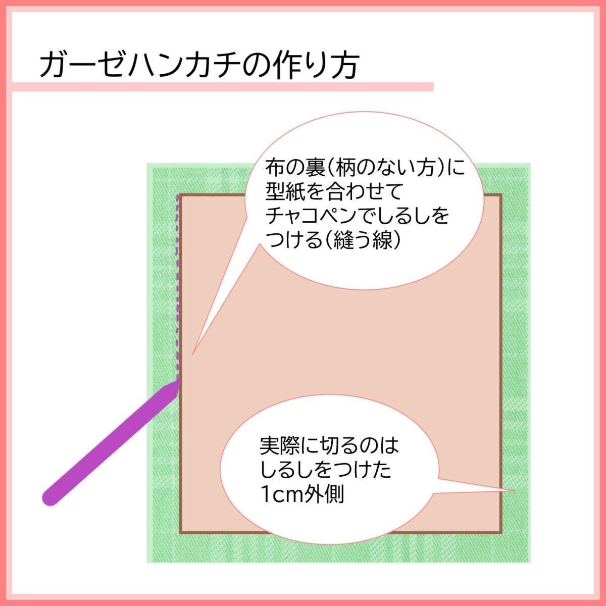 ガーゼハンカチの作り方:布の裏に型紙を合わせてしるしを付ける