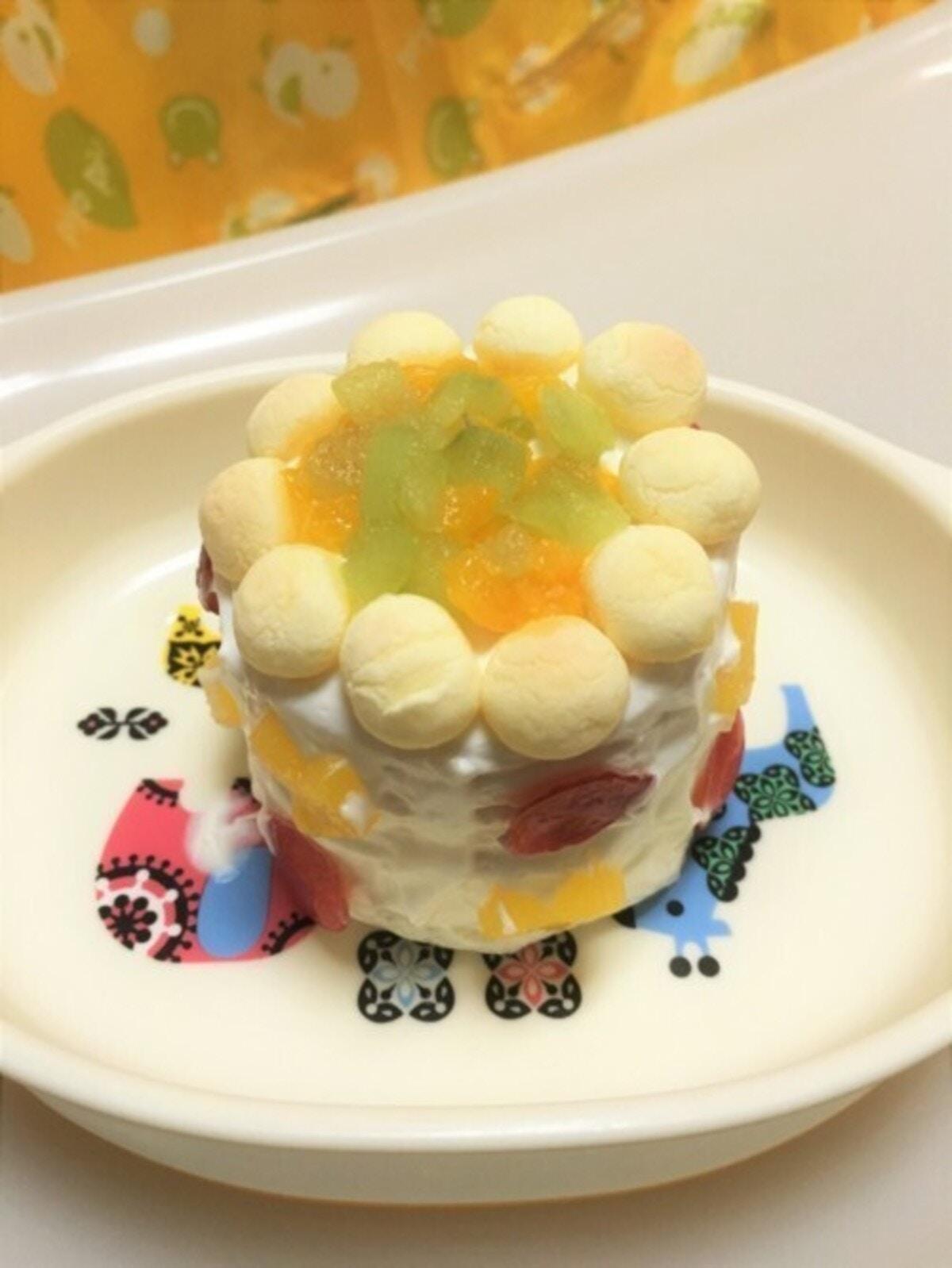 ボーロでデコレーション:1歳お誕生日ケーキ