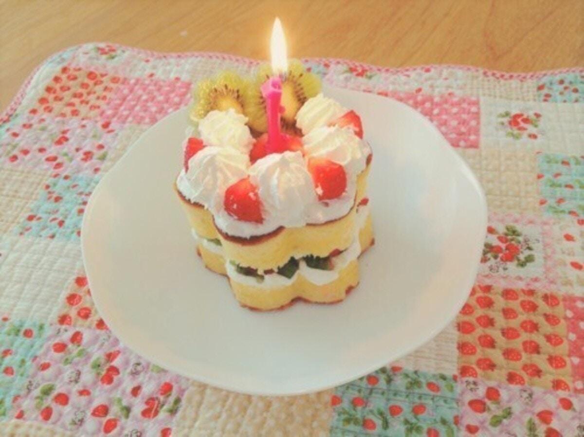 ホットケーキミックスを使った1歳お誕生日ケーキ