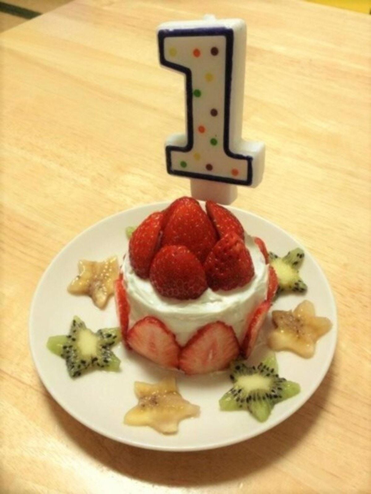 水切りヨーグルトを無駄なく活用!1歳お誕生日ケーキ
