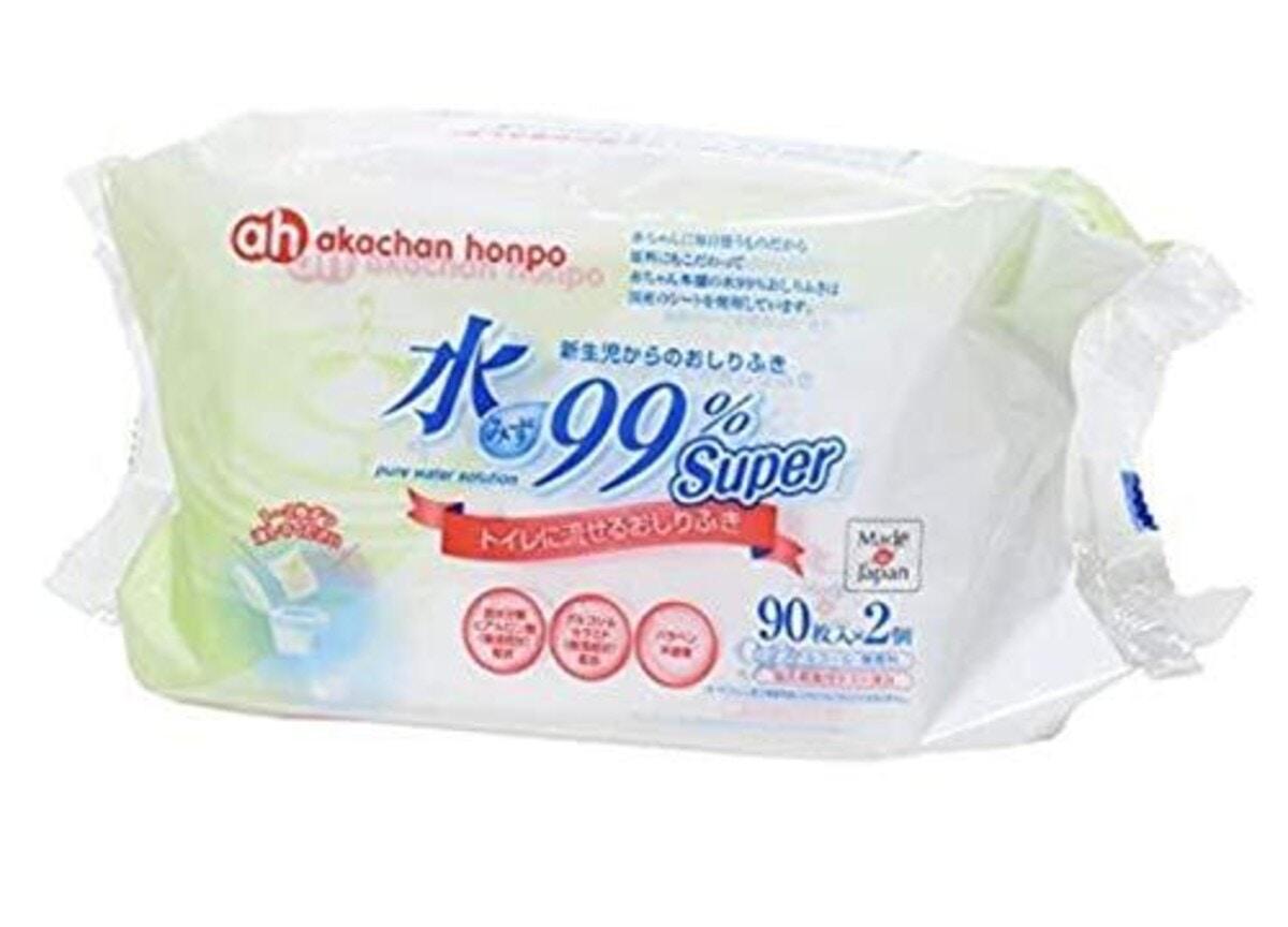 赤ちゃん本舗 水99%Super トイレに流せるおしりふき 90枚×2個