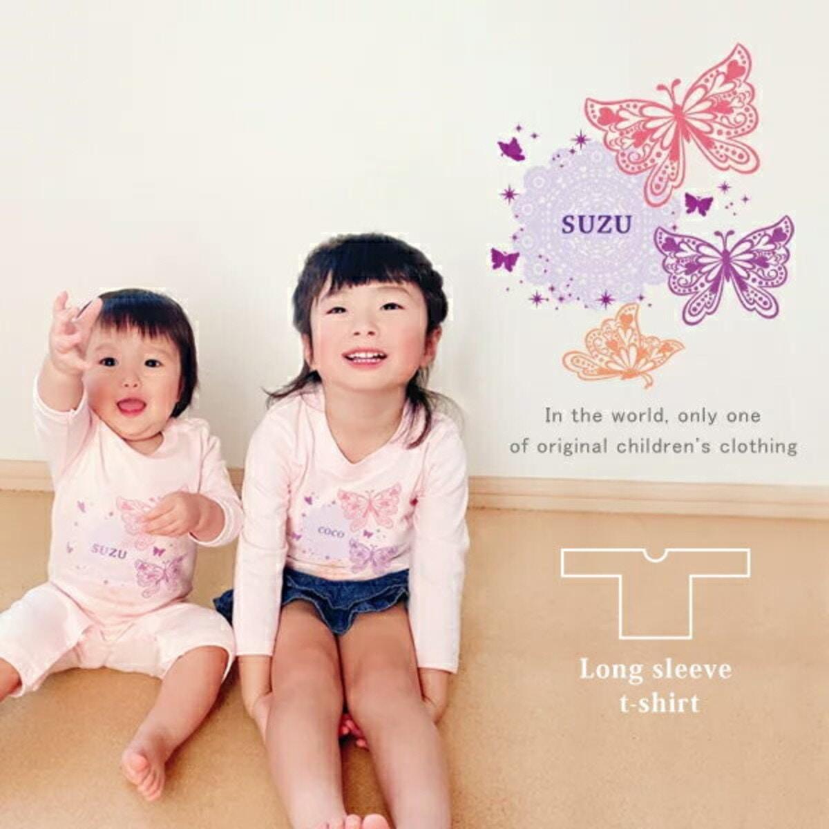 蝶とレースのかわいいデザインの長袖Tシャツ