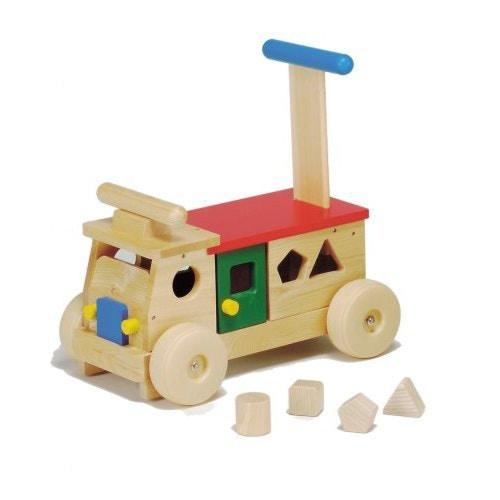 カラフルバス木製 乗用おもちゃ