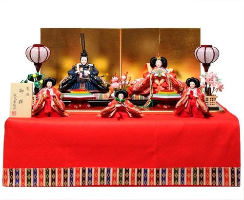 【雛人形収納飾】小三五親王柳官女:さくら雛:伏見屋監修【雛人形】【5人飾・五人飾】