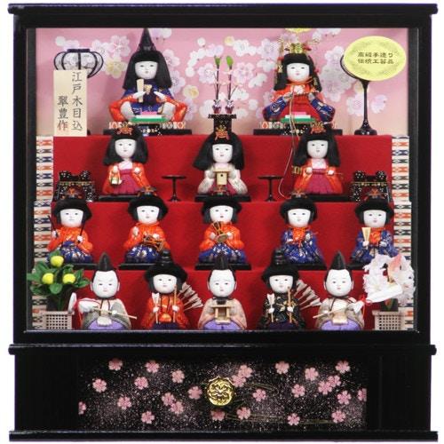 雛人形 コンパクトケース飾り 十五人飾り 木目込み ひな人形