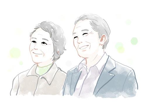 笑顔、老夫婦、水彩
