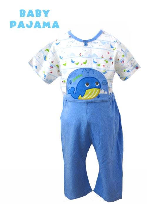 クジラさんの腹当付き 半袖パジャマ