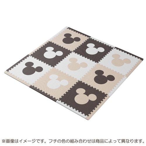 ジョイントマット ふち付き9枚組 ミッキー(カフェカラー)