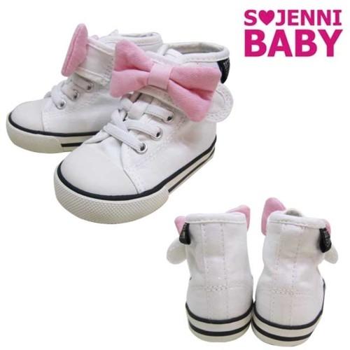ジェニィ ベビー 靴 /リボン 付き キャンバス ハイカット スニーカー