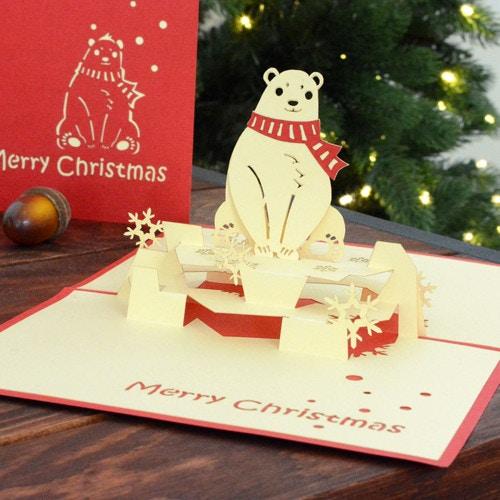 ポップアップクリスマスカード シロクマ
