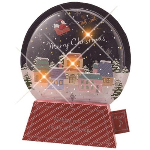 ライト付き立体ミュージックカード スノードームミュージック(サンタ)