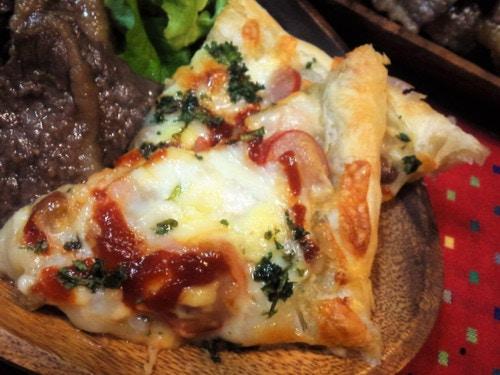 餅納豆のピザ風パイ