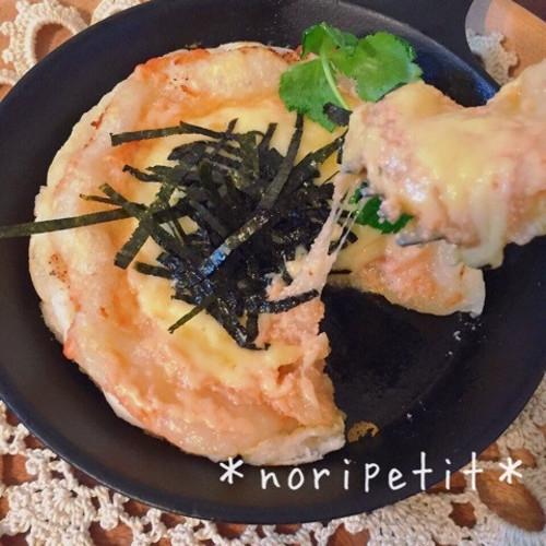明太マヨチーズのお餅ピザ