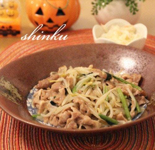豚肉・もやし・小松菜の中華味噌炒め