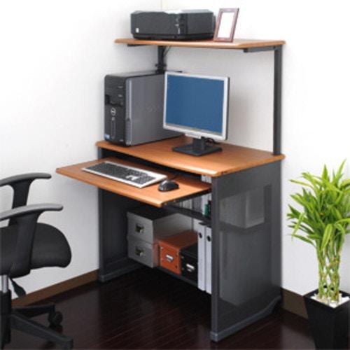 パソコンデスク 90cm幅 収納棚付 キーボードテーブル付 書斎デスク