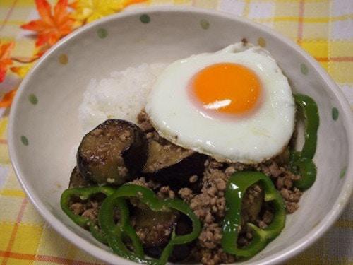 簡単♡挽肉と茄子のカレー風味がウマウマな丼