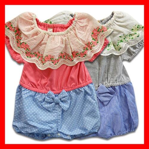 韓国子供服 女の子 半袖ロンパース
