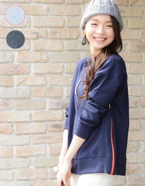 東尾理子さんが「ダウンタウンDX」にてご着用!授乳服 マタニティ トップス カラージップ・スウェットシャツ(ジッパー)