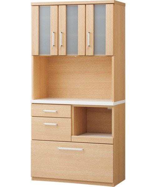 上の棚まで収納しやすいキッチンボード(ライプ90KBH NA) ニトリ