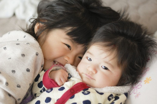 姉妹 笑顔