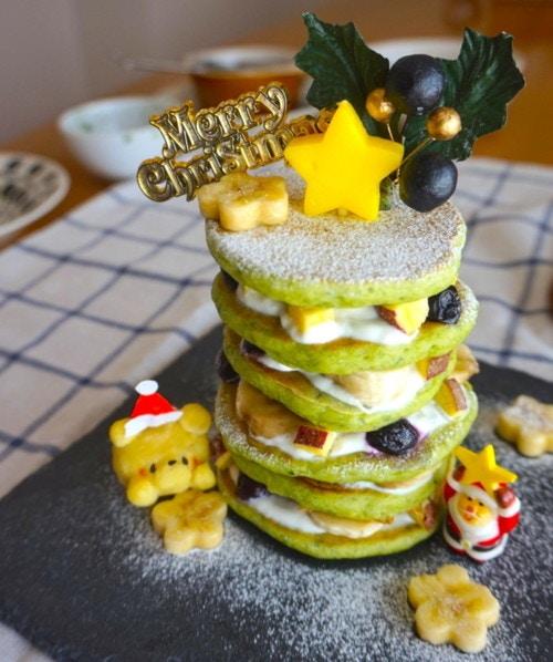 ホットケーキのクリスマスケーキ