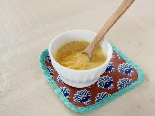 魚とカボチャのきな粉スープ