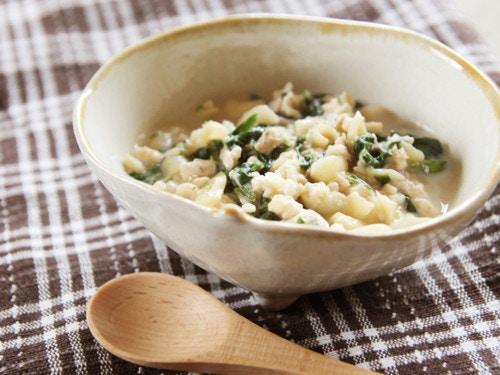 ホウレンソウと魚の豆腐クリームマカロニ