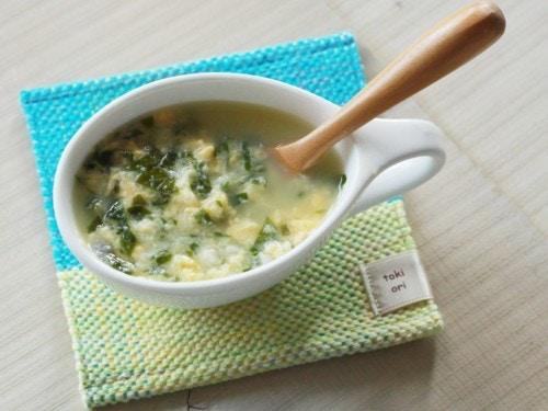 ワカメと魚の玉子スープ