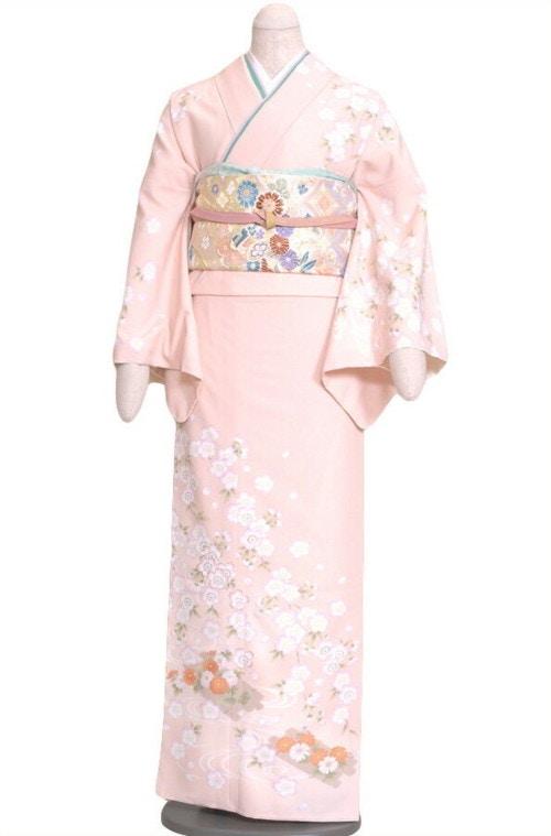 京都衣裳華小町 訪問着付下レンタル273 JAPAN STYLE ピンク地に花柄